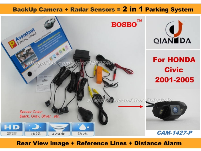 For Honda Civic 2001-2005 - Car Parking Sensor+ Rear View Camera 2in1 Assistance System - 4 Radars / Visible Model<br><br>Aliexpress
