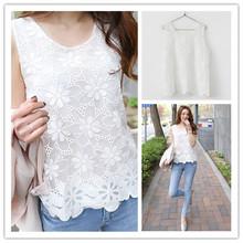 2015 Summer Style Large Size Women Slim Kimono Lace Sleeveless Chiffon Shirt All match White Lace Blouse Women blouses ZMXWBS16(China (Mainland))