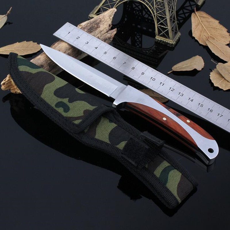 Buy 57Hrc Leggings Fixed Blade Knife Outdoor Survival Camping 440 CS GO Knife Diving Straight Stainless Steel Tactical Fruit Knife 9 cheap