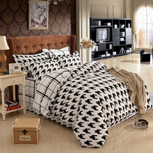 100% Cotton  New Bedclothes 4PCS / Lot Bedding Set black and white color Bed Set Duvet Cover Bed Sheet Pillowcase Bedding Sets(China (Mainland))