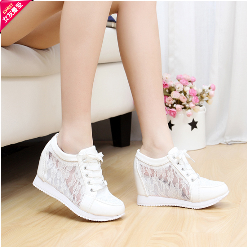 Summer invisible elevator shoes women's shoes 8cm breathable casual shoes sport shoes wedges single shoes sports shoes