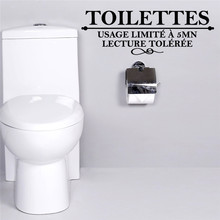 Buy French Toilettes Quotes Wall Stickers Usage limite a 5 mn Washroom Bathroom Toilet Decoration Wall Sticker Decals Art Home Decor for $1.42 in AliExpress store