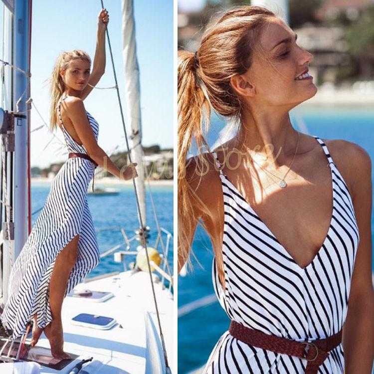 Hot Sale Summer Style Women Fashion Sexy V Neck Sleeveless Backless Strap High Waist Stripe Side Split Maxi Long Dress Beach 34(China (Mainland))