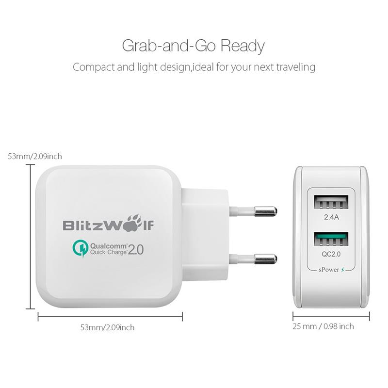 BlitzWolf EU 2.4A 30W QC2.0 QC3.0 Certified Quick Charger Fast Dual Port Micro USB Phone Chargers Adapter With Power3S Tech