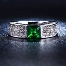 S925 sterling silver Jewelry wedding rings For Women fashion Bijoux Ruby Emerald Green gem CZ Diamond ring Classic new FSR2103