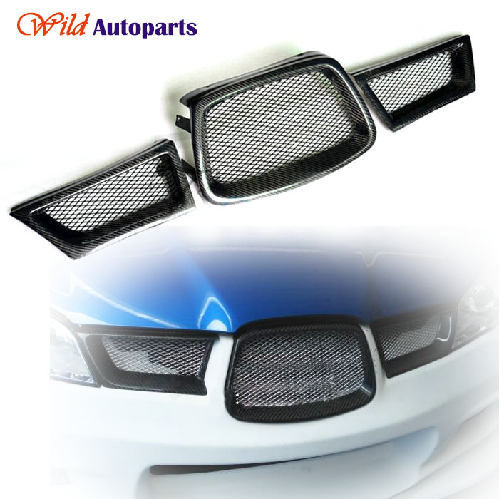 3pcs Glossy Carbon Fiber Front Duct Lower Grille Grill for 2006-2007 Subaru Impreza WRX STI(China (Mainland))