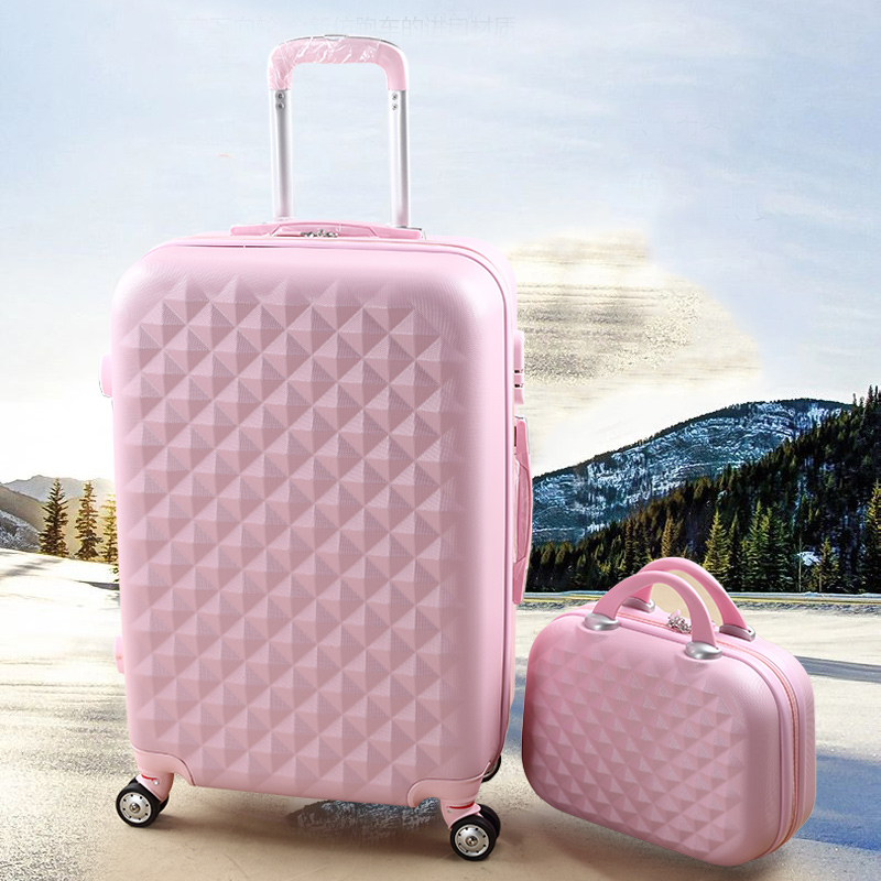 Diamond travel bag female box bags universal luggage wheels 14 20 picture sets, women lovely abs set