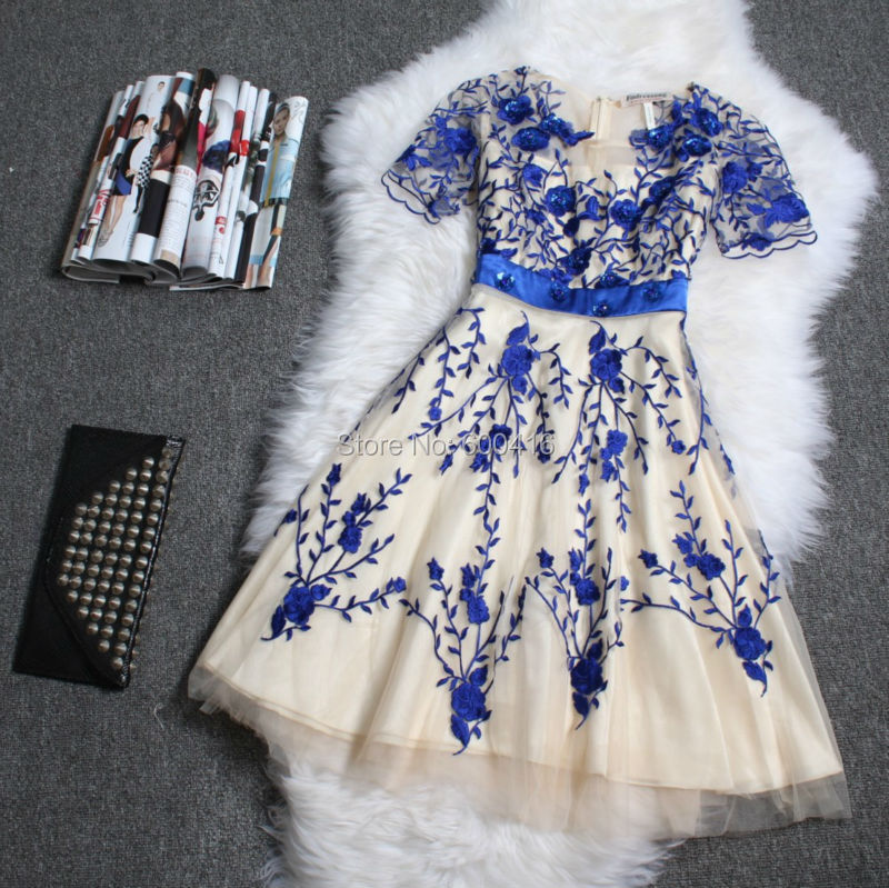 2014 Charming Short Sleeve Embroidered Gauze Dress Party Dress 140607XI01Одежда и ак�е��уары<br><br><br>Aliexpress