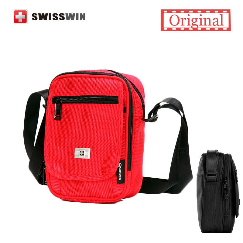 Swisswin 2016 Shoulder Bag Messenger Bag Men 10 Inch Black Red Nylon Bag Messenger Small Brand Business Messenger Bags for Men(China (Mainland))