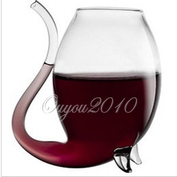 New Hot Sale Stylish Red Wine Glass Vodka Shot Cup Whiskey Glassware Drinking Tube Mug Sucking For Barware(China (Mainland))
