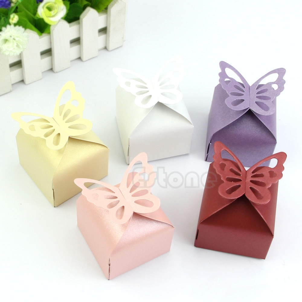 Free Shipping 50pcs Butterfly Style Favor Gift Candy Cake Boxes For Wedding Party Baby Shower(China (Mainland))