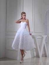 free shipping 2014 new design fashion bride long custom size/color handmade flower elie saab strapless white short wedding dress(China (Mainland))