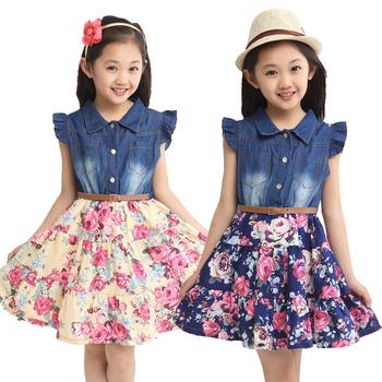2015 summer girls clothing children clothes kids dress cotton denim girls floral print dresses girl princess dress with flower