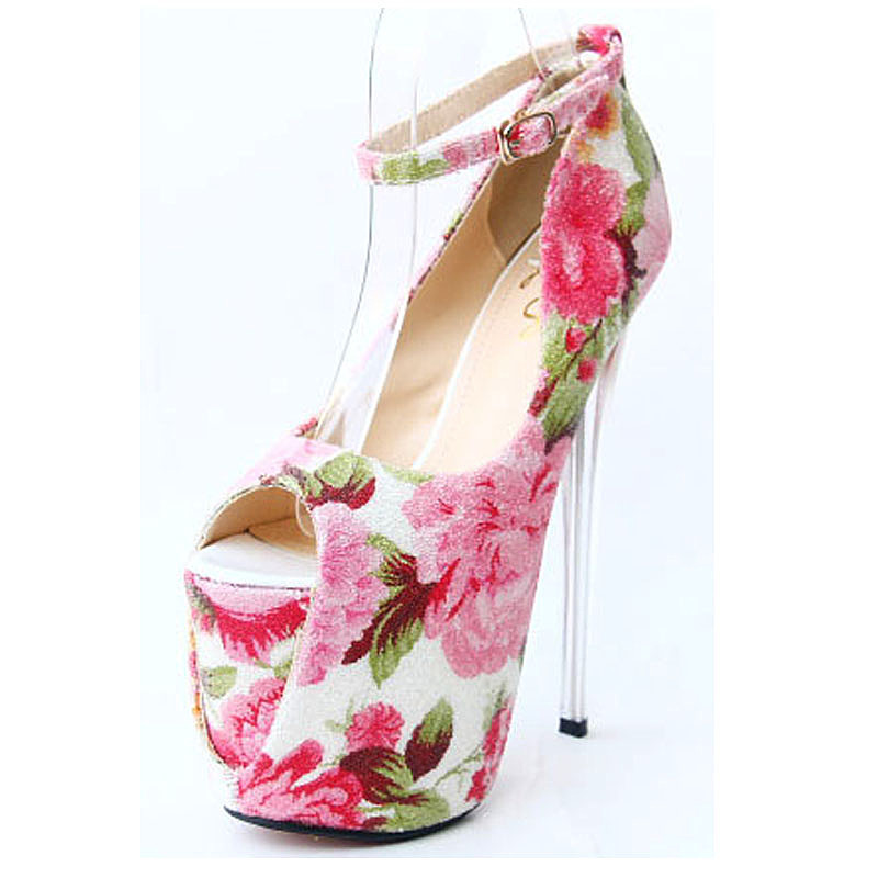 2015 Spring Summer New Flower Print crystal HeeL 19CM 22cm high fish head Pumps Women catwalk heels plus 43size