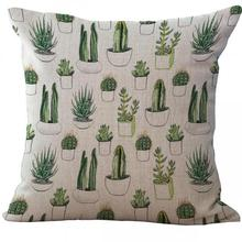 Buy New Hot Tropical Cactus Prickly Pear Printed Linen Throw Pillow Case Office Chair Waist Cushion Cover 45*45 Cm for $3.84 in AliExpress store