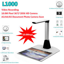 Free shipping!L1000 Portable A3 Document Scanner OCR Book Camera HD 10MP JPG PDF Paper Scanner USB2.0 OCR Document Scanner A3(China (Mainland))