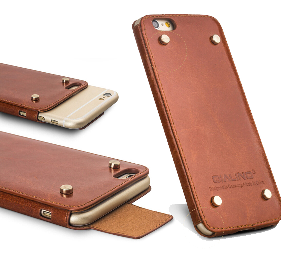 Qialino Genuine Leather Case For iPhone 6 & 6s Cover for iphone 6 4.7/5.5 Case Top Handmade Pouch with Rivet Design(China (Mainland))