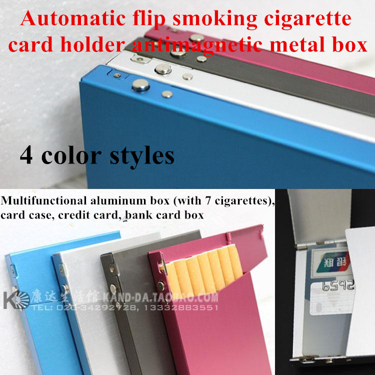 Automatic flip smoking cigarette card holder antimagnetic metal box candy color multifunction aluminum alloy thin cigarette case(China (Mainland))