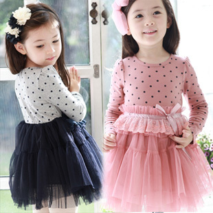 2013 spring girls clothing cotton 100% circle dot lace long-sleeve princess one-piece kawaii dresses novelty and bow dress