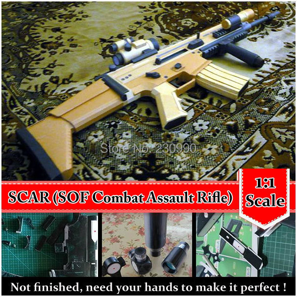 Classic SCAR, SOF Combat Assault Rifle Scale 3D Paper Model Cosplay Kits Kid Adults' Gun Weapons Models Handmade Toys