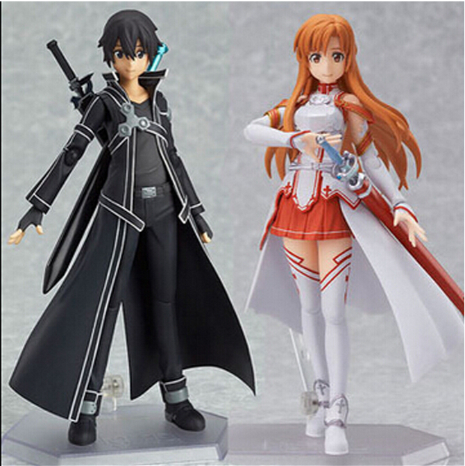 Anime Sword Art Online Kirigaya Kazuto/asuna/Figma 15cm PVC Action Figure Toys Collection Model Gifts with retail box<br><br>Aliexpress