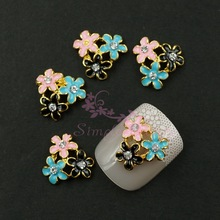 20pcs/lot 12x10MM 3D Alloy Black Pink Blue Daisy Flower Cluster Clear Rhinestones Crafts Jewelry Nail Art Ornament Decorations(China (Mainland))