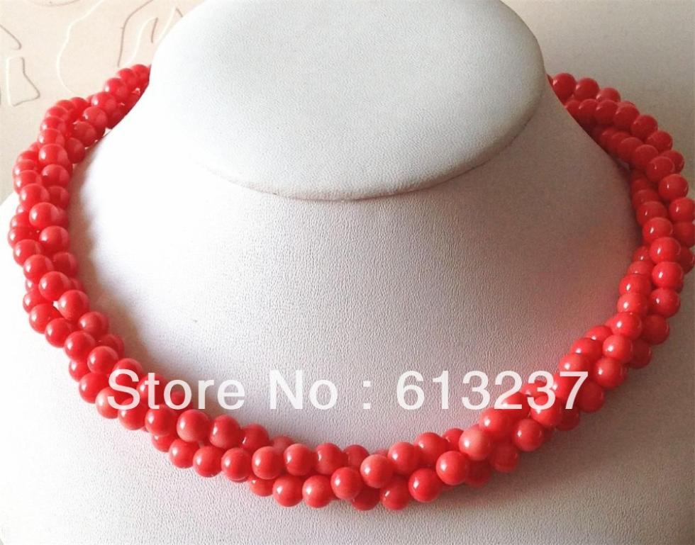Free shipping fashion exquisite 6mm 3rows pink artificial coral round beads necklace hig grade hot sale jewelry 18inch MY4652(China (Mainland))