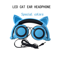 Original wired cat ear headphone folded gift gala headband earphone LED light Cute Unique Shape headphones For PC Mobile Phone(China (Mainland))