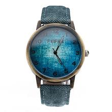 Vintage Nostalgic Cowboy Denim Leather Quartz Watch Men Casual Dress Wristwatch Fashion Retro Antique Analog Watch Orologio Uomo
