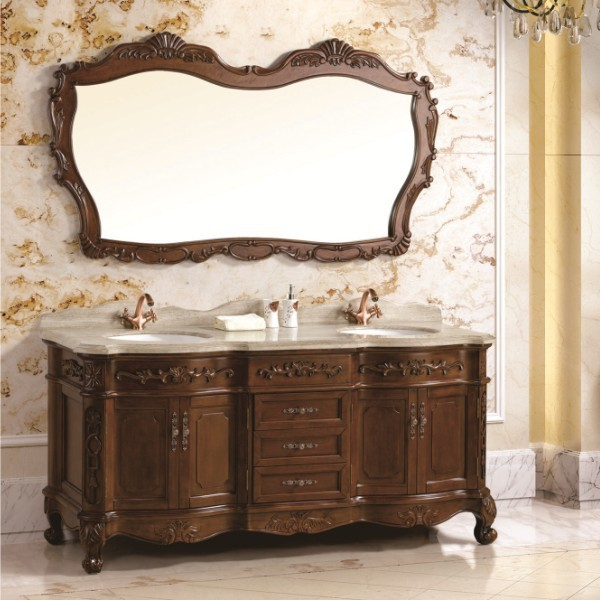 2014 best selling oak solid wood double sink used bathroom vanity Used bathroom vanity with sink