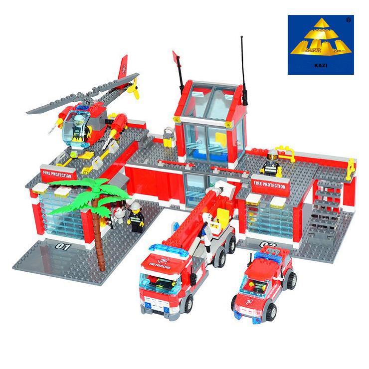 New Original Kazi City Fire Station 774pcs/set Building Blocks Educational Bricks Toys Compatible with lego city Firefighter