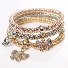 3Pcs/Set Gold Silver  Filled Charm Crystal Butterfly  Elastic Multilayer Bracelets For Women Pulseiras Pendant Bracelet(China (Mainland))