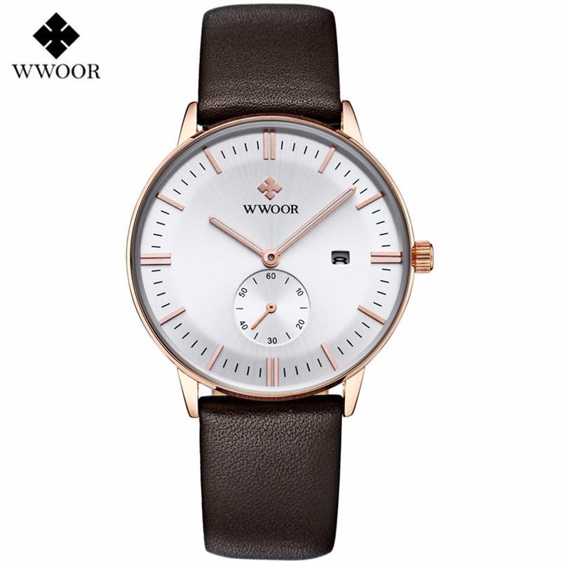 Original Brand Fashion Casual WWOR Quartz Watch Men Brown Leather Strap Simple Slim White Dial Date Men Sports Watches Men 8808(China (Mainland))