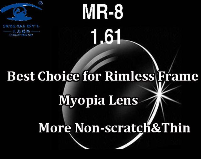 MR-8 Высокое Качество Индивидуальные Очки Без Оправы Оптические Линзы 1.61 Индекс ...