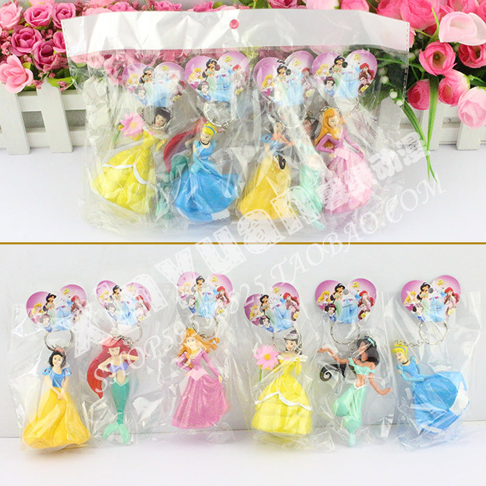 Princess keychain figures 10CM Cinderella Snow white Belle Tinker bell Cartoon Figure Toy 6pcs/lot Free Shipping(China (Mainland))