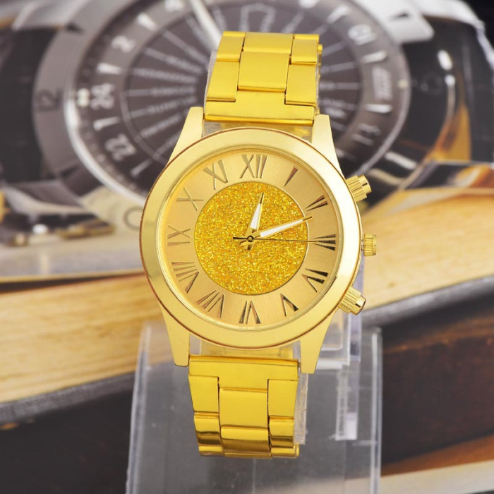 2015 New Fashion Men Gold Watch 18K Brand Quartz Watch Casual Stainless Steel Male Clock Wristwatches
