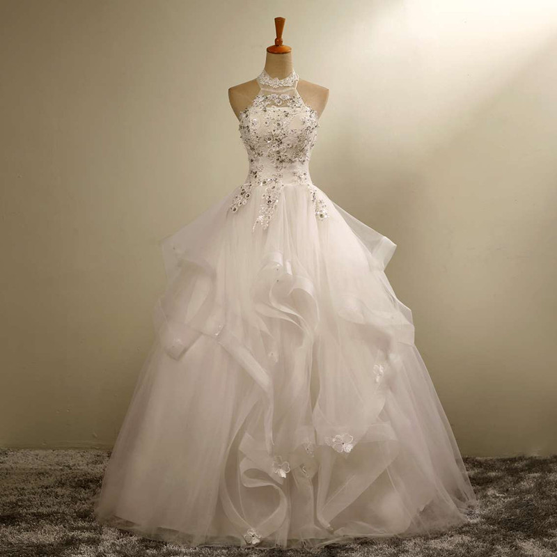 2016 new sexy ball gowns hanging neck sleeveless lace for Plus size country western wedding dresses