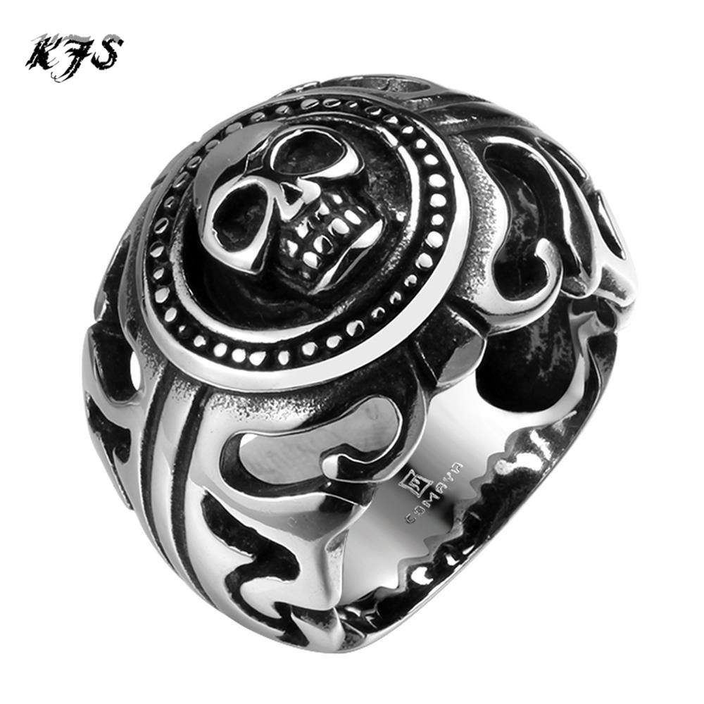 Top Quality Titanium Steel Rings Finger Expendables Skull Punk Style 316L Stainless Steel For Men Ring Party Birthday Jewelry(China (Mainland))