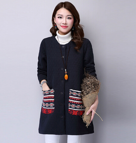 Autumn And Winter 2017 Long Patchwork Wire Thicken Female Clothing Casual Coat Ethnic Style Keep Warm Clothes