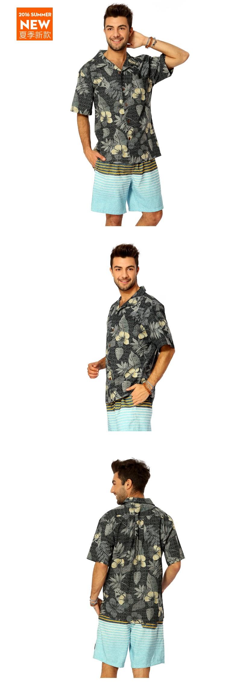 HTB1APsBKVXXXXbFapXXq6xXFXXXG - 2016 Hawaii Shirts Men's Casual Short Sleeve Printed Home Shirt Plus size Mens Cotton Hawaiian Shirt Camisa Hawaiana A1395