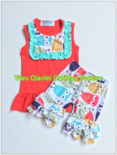 30sets a lot Baby Girl Sleeveless red awl bib tank top&double ruffles shorts sets