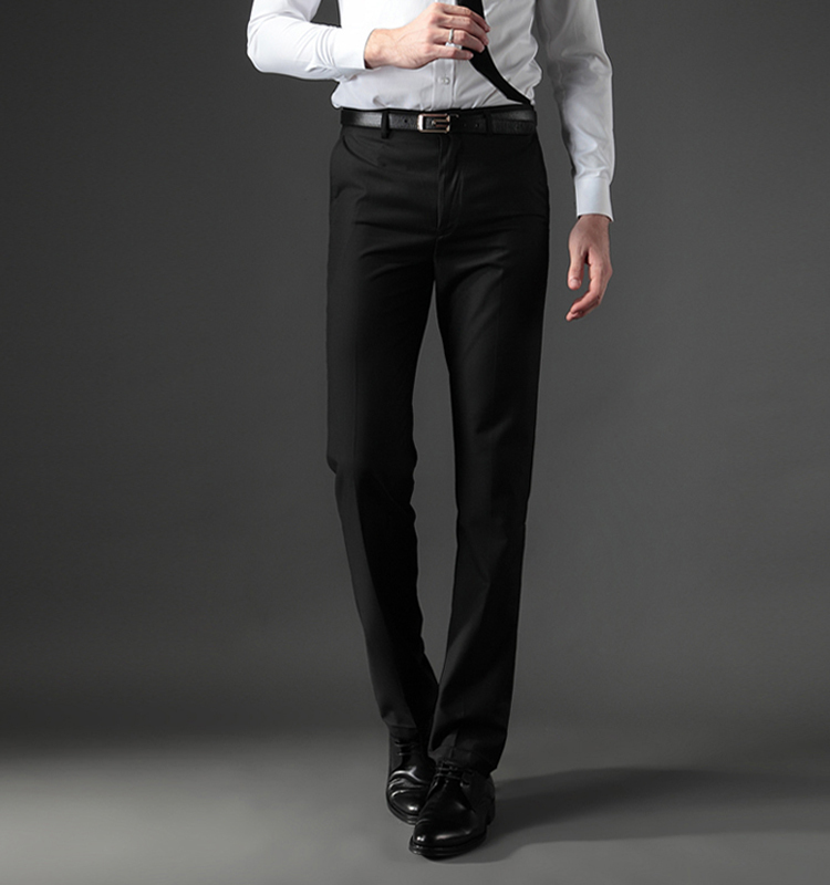 Size 40 Wrinkle Free Workwear Black Pants Business Pants For Men Slim Fit Formal Trousers Mens ...