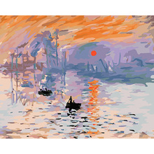 "Buy Hand Painted painting ""Impression & Sunrise"" Monet Wall Art Canvas Painting Numbers Picture Living Room 40*50cm DY204 for $8.27 in AliExpress store"