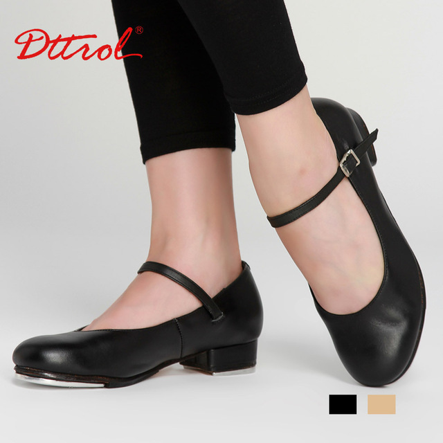 Dttrol Geniune cow leather upper hard leather outsole Women Professional Comfortable Flexible Dance Tap Shoes D004727(China (Mainland))