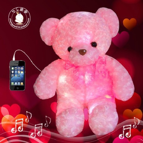 Free shipping colorful, luminous teddy bear plush toys, music hold bear doll, creative birthday gift to send girls girlfriend(China (Mainland))