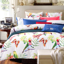 American country Flowers and birds bedcover 4pcs bedding sets bed linen bedspread queen king size 100% Cotton Fast shipping(China (Mainland))