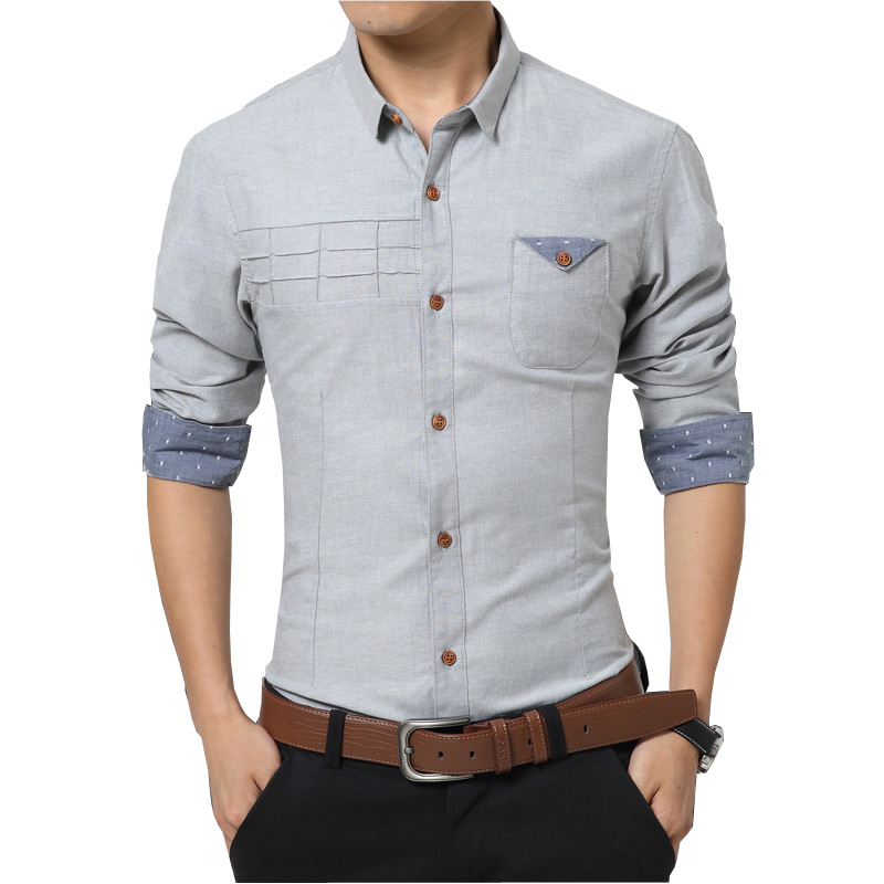 New Arrival Brand Men Solid Cotton Shirt Slim Fit Long