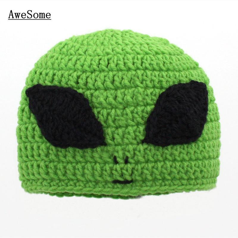 Free Shipping Green Alien Hat,Crochet Baby Boy Girl Character Beanie Cap,Infant Big Eye Alien Cap,Newborn Toddler Photo Prop(China (Mainland))