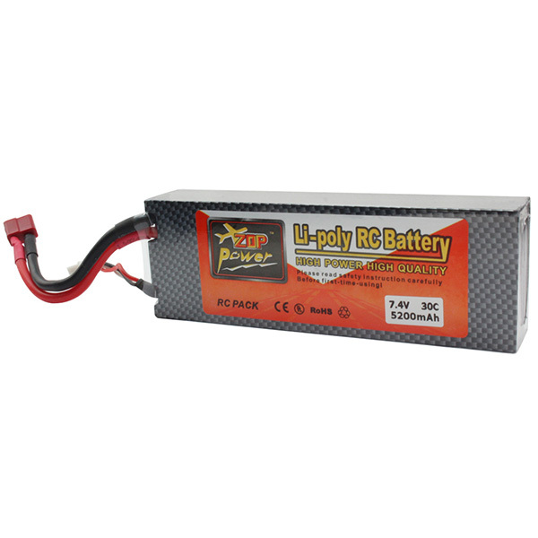 ZOP Power Lithium Polymer Lipo Battery 7.4V 5200Mah 2S 30C T Plug for RC Helicopter Airplane Quadcopter Bateria(China (Mainland))
