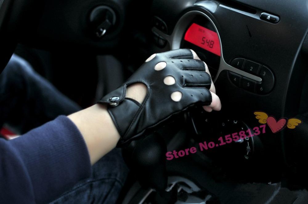Free Shipping 2015 Fashion Half Finger Driving Women Men Gloves 1 Pc PU Leather Fingerless Gloves